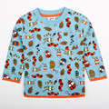 2015 natrual style children clothes boy cotton blue long sleeve with cute patten boy t-shirt cheap sale nova kids clothes