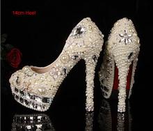 Luxury14cm High-heeled Bridesmaid Pears Beaded Bridal Shoes Crystal Diamond Lady Shoe for Wedding Party Ball Prom Pageant Event