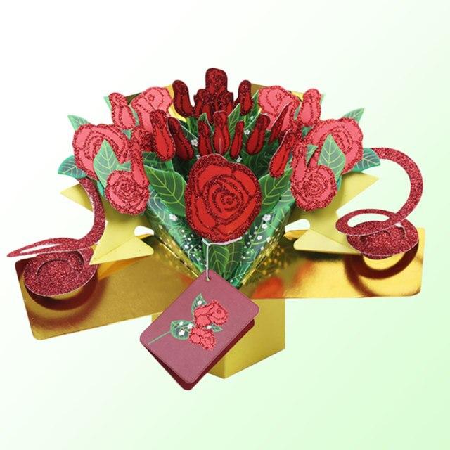 231 15 De Réductionartisanat Joyeux Anniversaire Roses Cartes De Voeux 3d Pop Up Rose Fleur Enfant Dans Cartes Et Invitations De Maison