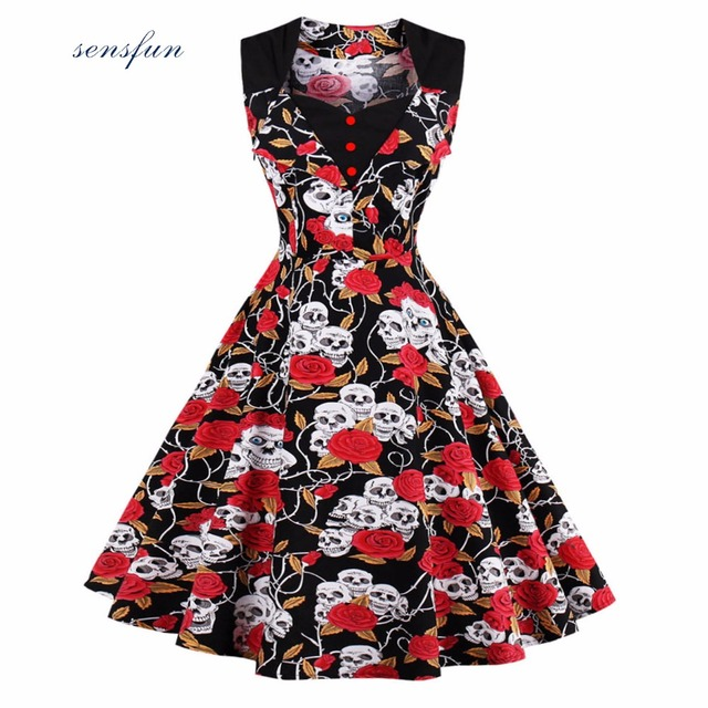 b3ede04863cc Sensfun Summer Dress 2017 Women Cotton Hepburn Robe 1950 60s Vintage Dress  Pin Up Elegant Vestidos Retra Party Dresses Sundress