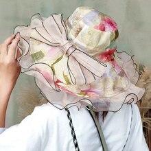 Mesh-Hat Church Sunhat Derby Kentucky Wide Brim Fashion Women Summer Floral Streak-Cap