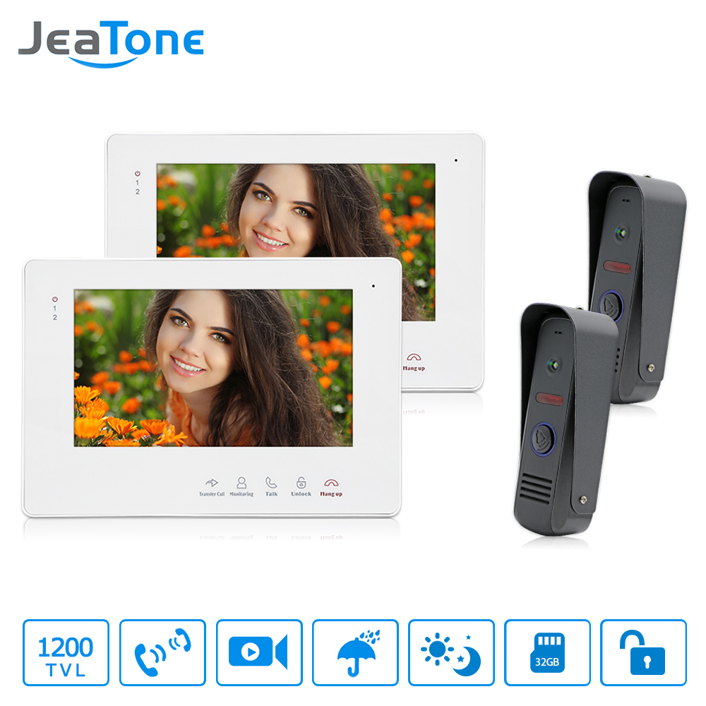 JeaTone 7Video Intercom Doorbell Waterproof Door Phone Camera Home Security Kit 1200TVL Dual Communication Touch Button Monitor homefong 7 tft lcd hd door bell with camera home security monitor wire video door phone doorbell intercom system 1200 tvl