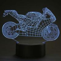 Acryl 7 Kleuren 3D Motorfiets Vorm USB Led-nachtlampje Flash Sfeer Tafellamp Thuis Slaapkamer Decor Voor Baby Kinderen Gift