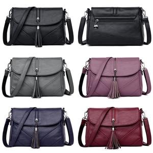 Image 3 - Małe damskie torby na ramię z długi pasek wysokiej jakości PU skórzane koperty torby na ramie z frędzlami na kobiecym ramieniu