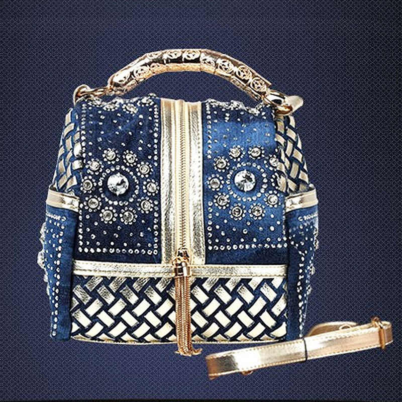 Hot 2017 Designer de Tecido Mulheres Bolsa Famosa Marca Rhinestone Totes bolsa de Ombro Bolsas De Luxo