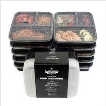 3 отсека многоразовые пластиковые контейнеры для хранения продуктов с крышками, микроволновая печь и посудомоечная машина, Bento Ланч-бокс, набор из 10