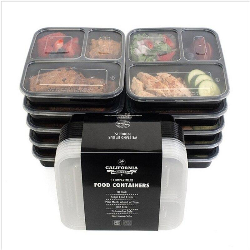 3 Vano Riutilizzabile Contenitori Per Alimenti In Plastica con Coperchi, forno a microonde e Lavastoviglie, Bento Lunch Box, Set di 10