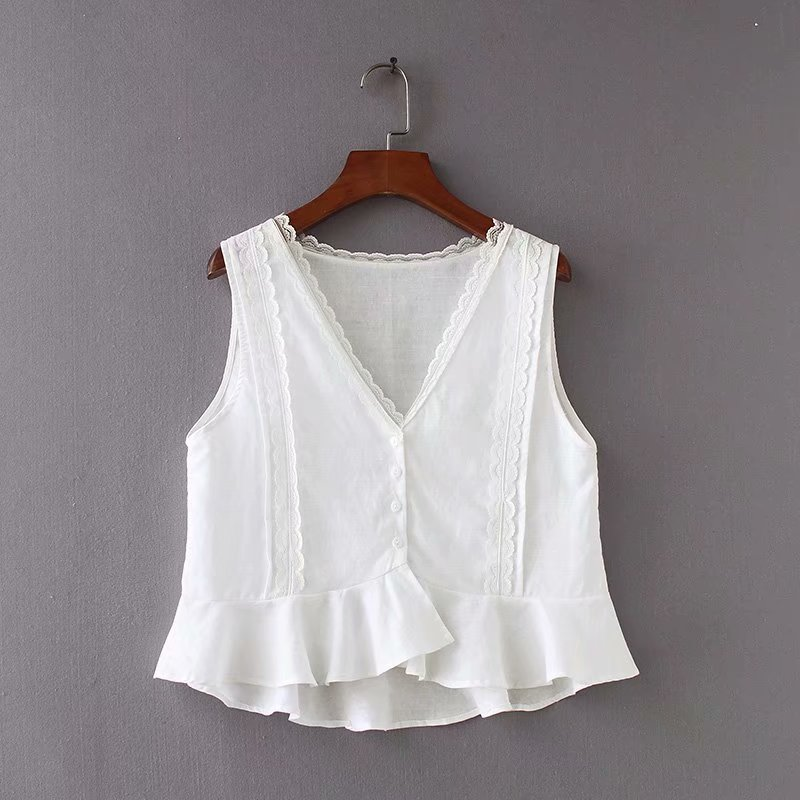 2019 Women Vests Blouse Vintage Sleeveless Cotton Linen Casual Loose V-neck Solid Color Streetwear Blouse Women Roupas Feminina Blouses & Shirts
