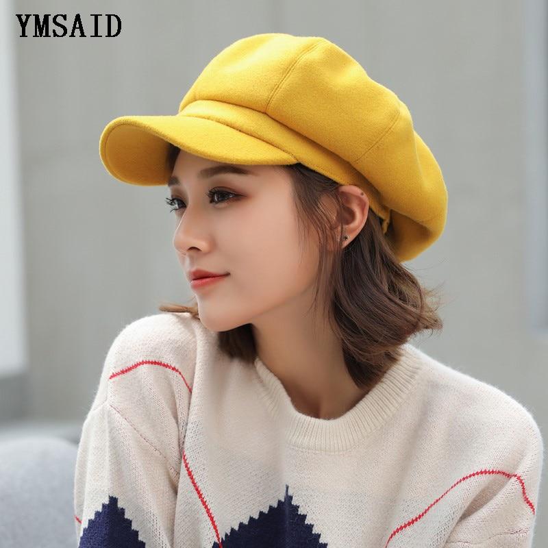Women Girls Casual Corduroy Visor Beret Newsboy Cap Ladies Painter Octagonal Hat