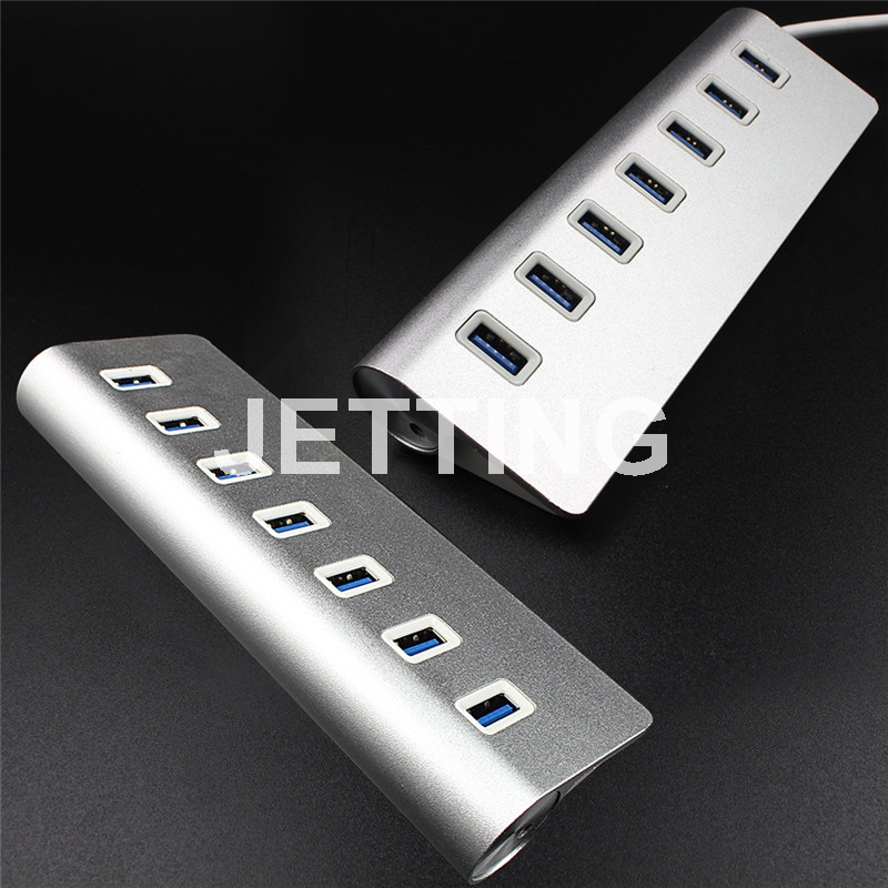 JETTING New 7 Ports USB 3.0 High Speed 5Gbps 3.0 USB Splitter Adapter Aluminum Charging Sync Data for PC Macbook Laptop