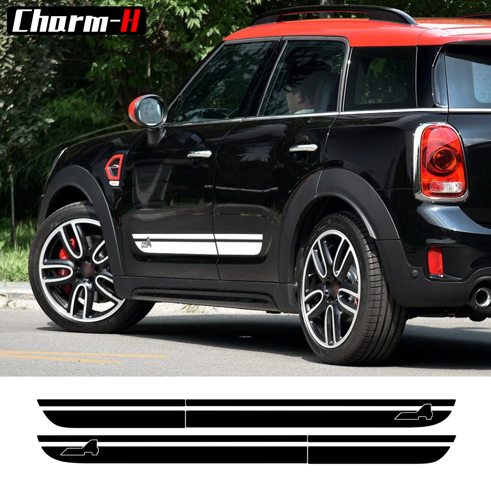 Pair of Side Stripes Decal for Mini Cooper S Countryman F60 2017 - Present All4 Sport Stripes Door Side Stickers - 5 colors car styling hood trunk rear bonnet side stripes decal stickers jcw work graphic all4 for mini cooper countryman f60 2017 present