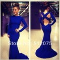 2016 New Arrives Long Mermaid Prom Dresses Full Sleeve Open Back Cheap Sexy Prom Dress Customer Made