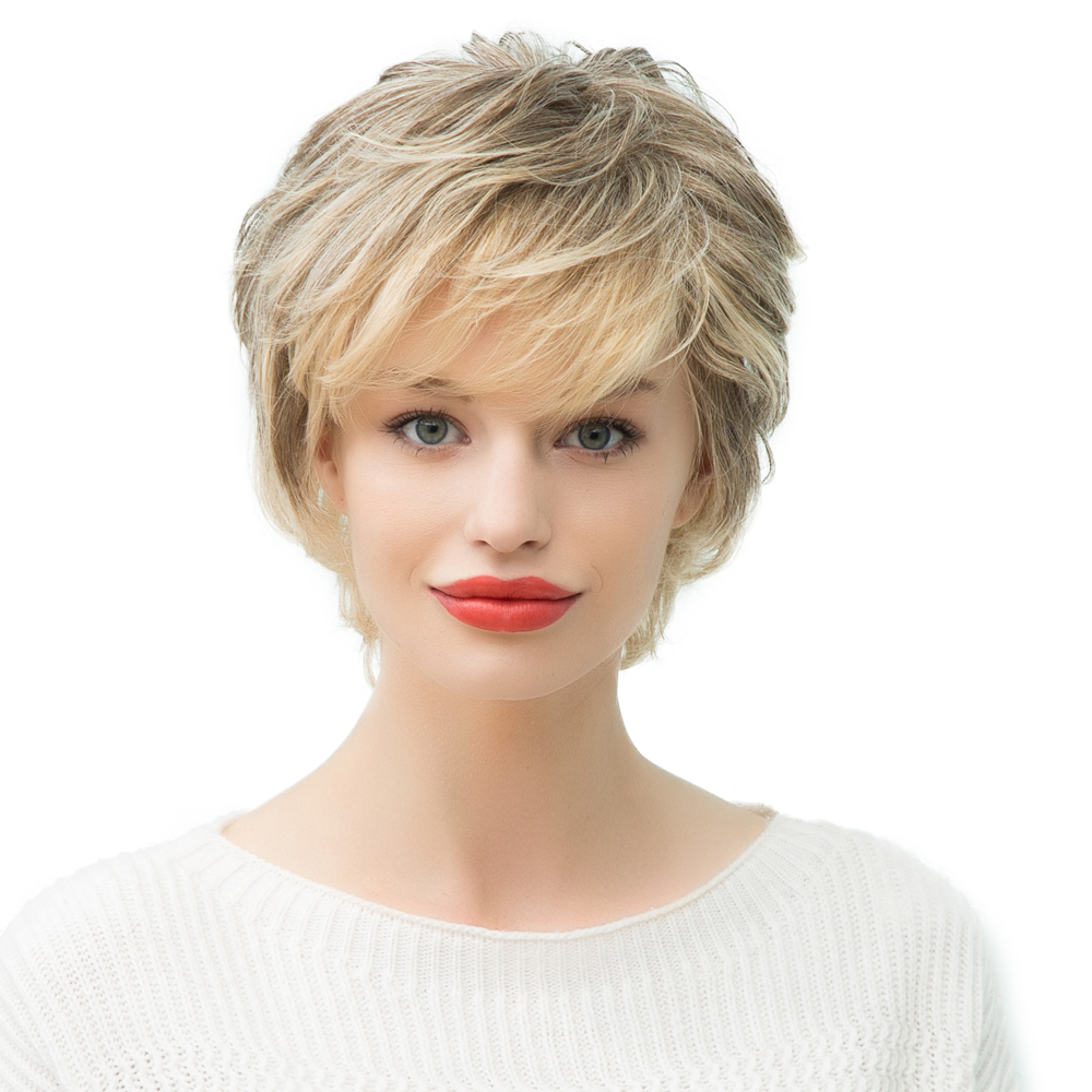 Fashion Women Short Natural Wave Human Hair Wig Full Head Wigs Ombre Blonde High Quanlity wholesale 160g set 60 platinum blonde 7a real hair brazilian clips in extensions real straight full head high quality