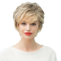 Fashion Women Short Natural Wave Human Hair Wig Full Head Wigs Ombre Blonde High Quanlity