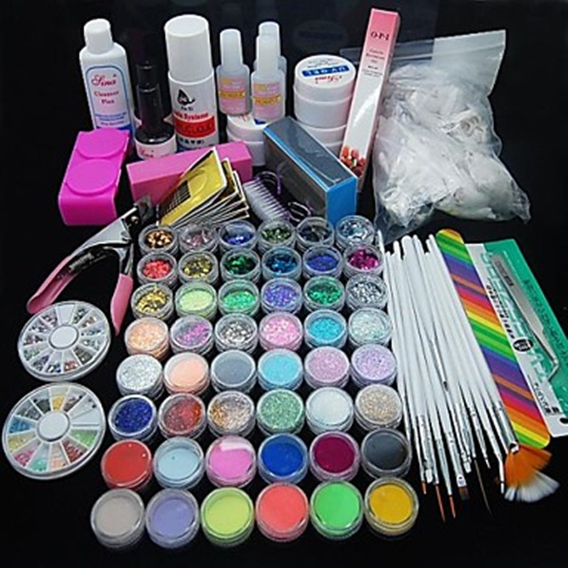 90 PCS Glitter UV Gel Nettoyant Primer Nail Art Kit Set NT40