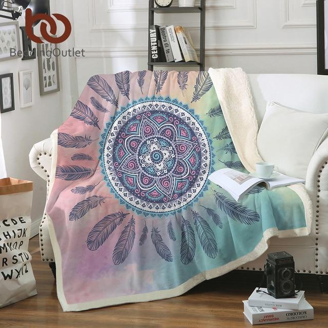 BeddingOutlet Dreamcatcher Throw Blanket Mandala Boho Bohemian Sherpa Fleece Bedding Velvet Plush Pink and Blue Blanket for Beds