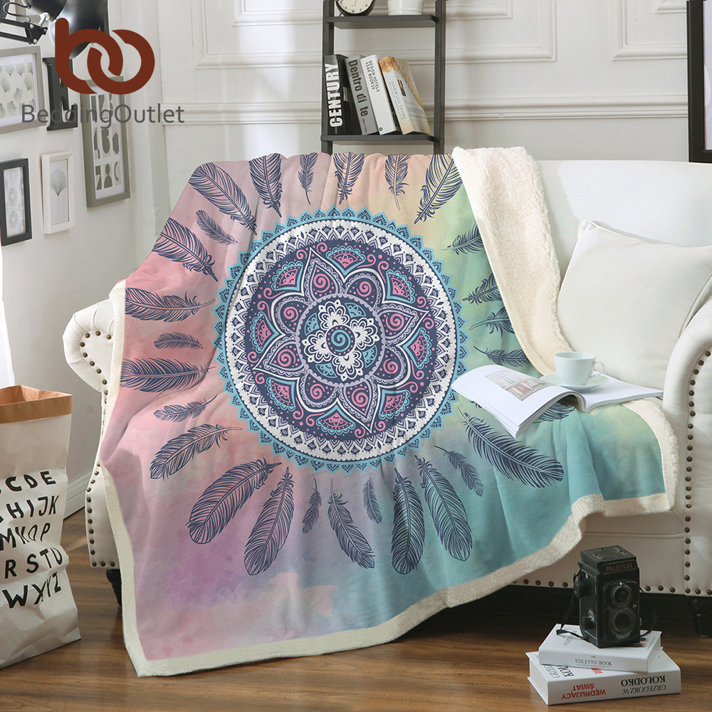 Funda de almohada atrapasueños manta Mandala Boho bohemio Sherpa polar ropa de cama de terciopelo de felpa rosa y azul para camas