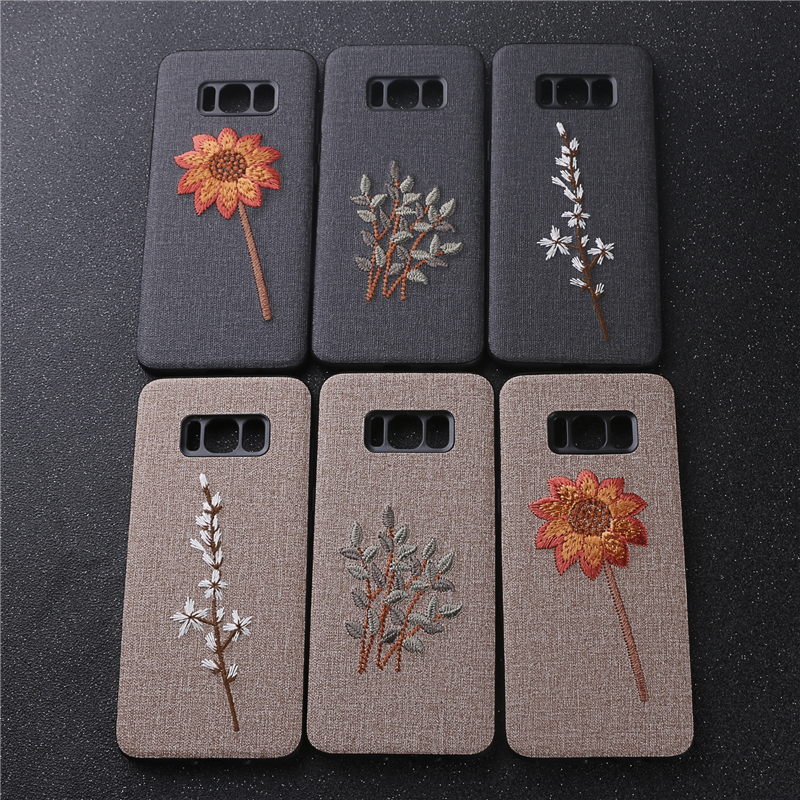 For Samsung Galaxy S8 S 8 Case Handmade Embroidery 3D Flower Phone Cases for Cover 5.8