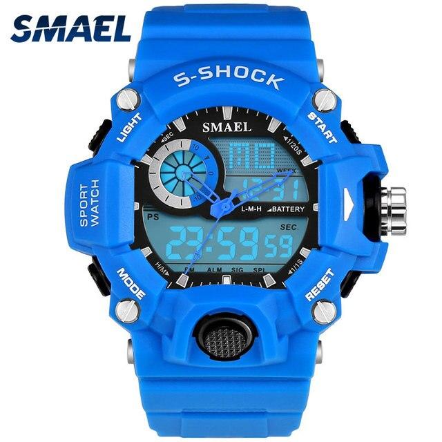 93e9754a0a4 Nova Marca SMAEL Esportes Relógios À Prova D  Água Azul LED Digital Quartz  Duplo Mostrador