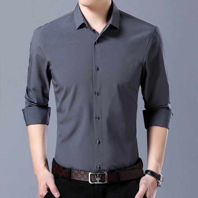 ae29142d413 9 Colors High Quality Dress Shirts 2019 New Business Casual Men Long  Sleeves Shirt Fashion Men Brand Solid Color Slim Shirt