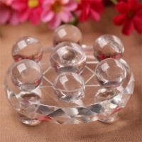 7 pcs 2cm Seven Star Group crystal clear Chakra Sphere Crystal Balls with8 cm Lucency Crystal Base Reiki Healing