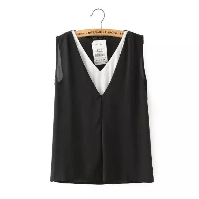 2015 nova moda europa mulheres breve cores preto e branco falsos duas peças blusa verão casual V neck chiffon camisa #J835