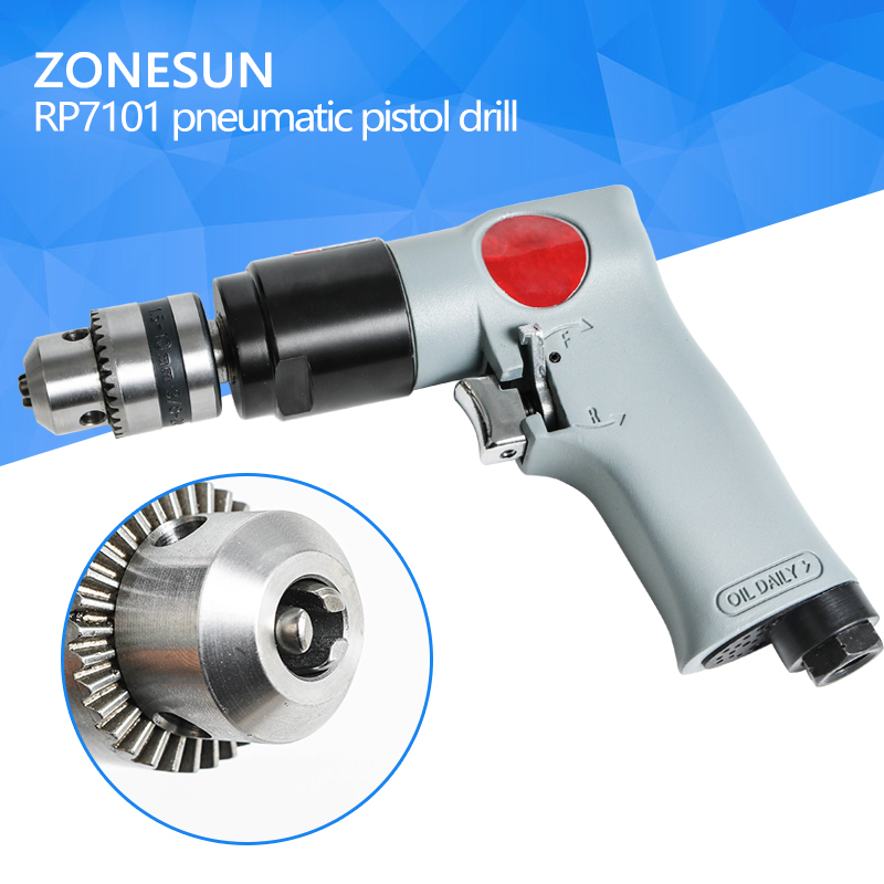 ZONESUN RP7101 3/8 Reversible Pneumatic Power Drill Air Driller Tool Air Drilling Tool wind grinding tapping tool high quality 3 8 reversible pneumatic drill air tapping machine
