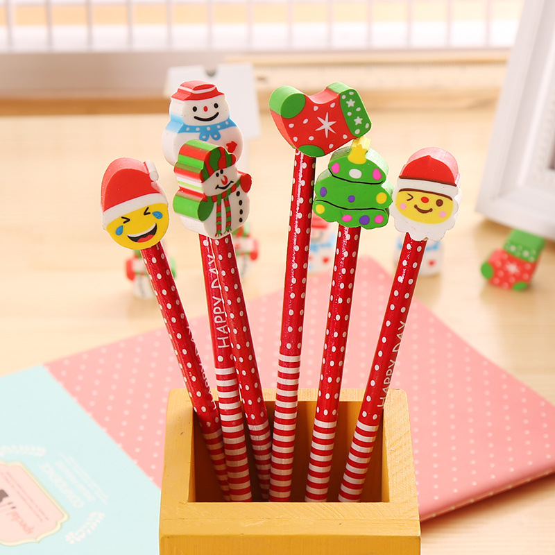 100 Pcs/lot Christmas Wooden Pencils Writing Supplies Novelty Cartoon Stationery School Pencil Set Christmas Gifts Pencils
