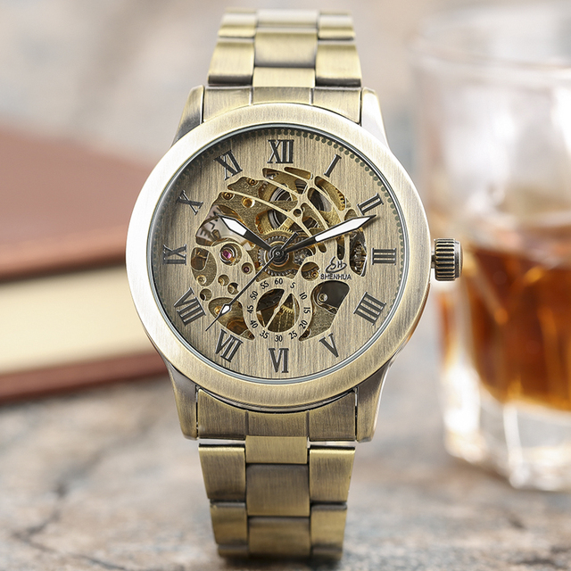 20a06779144 SHENHUA Vindima Bronze Completo Mecânico Automático Relógios Masculino  Relógio Esqueleto Steampunk Relógios de Pulso Dos Homens