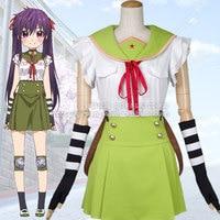 School Live! Gakkou Gurashi! Kurumi Ebisuzawa Cosplay Costume Tops+Skirt+Tie+Straps+Hairband+Gloves+Kneecap