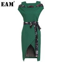 [EAM] 2018 Ilkbahar Yaz Yeni Moda Örgü Bandaj Dekorasyon Havalandırma Hem Casual Geri Fermuar Kolsuz Elbise Kadın YC184