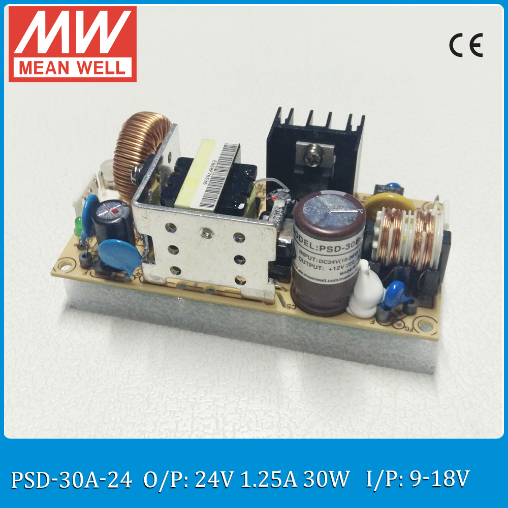 Original MEAN WELL 30W DC to DC converter PSD-30A-24 Single Output 30W 1.25A 24V PCB type dc dc isolated converter dynacord psd 218