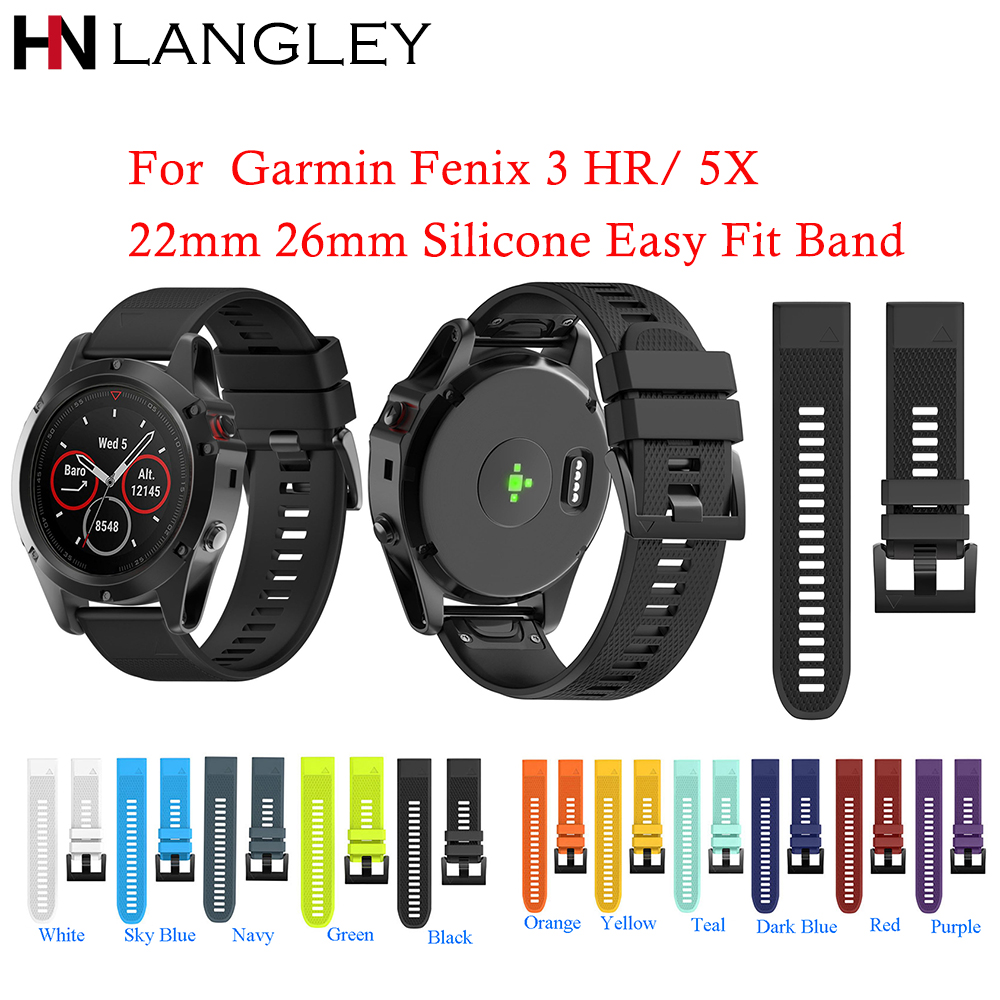 Silicone Bands For QuickFit 22 26 Watch Bands for Garmin Fenix 5X 5 3 3HR D2 Charlie S60 Watch Quick Release Easy Fit Strap