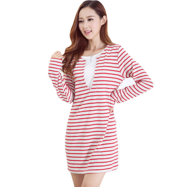 Hot sale Autumn Spring Long-sleeved Cotton Striped Nursing Dress Breastfeeding Clothes Maternity Dresses Fashion Breast Feeding hot sale spring autumn long sleeved nursing dress maternity nursing clothes elegant slim breastfeeding clothing nursing clothin