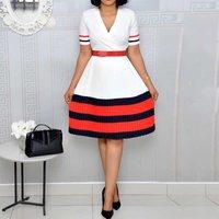 Vintage Office Ladies White Summer African Plus Size Party Women Midi Dresses Stripe Retro Beach Chic Female Fashion Dress 2019
