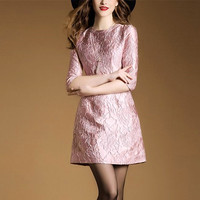 Women's Elegant Embroidery A line Cute Half sleeve O neck Party Dating Mini Dress Plus size Casual Vintage Clothing H299