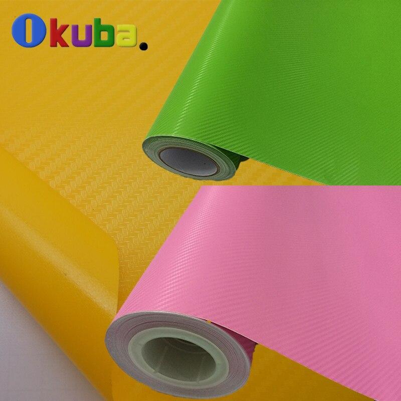 1.52*30m Yellow Pink Green 3d Carbon Fiber Vinyl Film Car Sticker Waterproof PVC Full Car Body Sticker Sheet