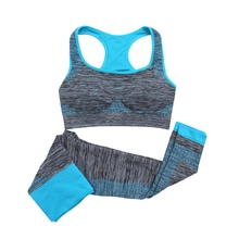 2Pcs Solid Color Women Fitness Seamless Bra+Pants Leggings Set Workout Wear S-L