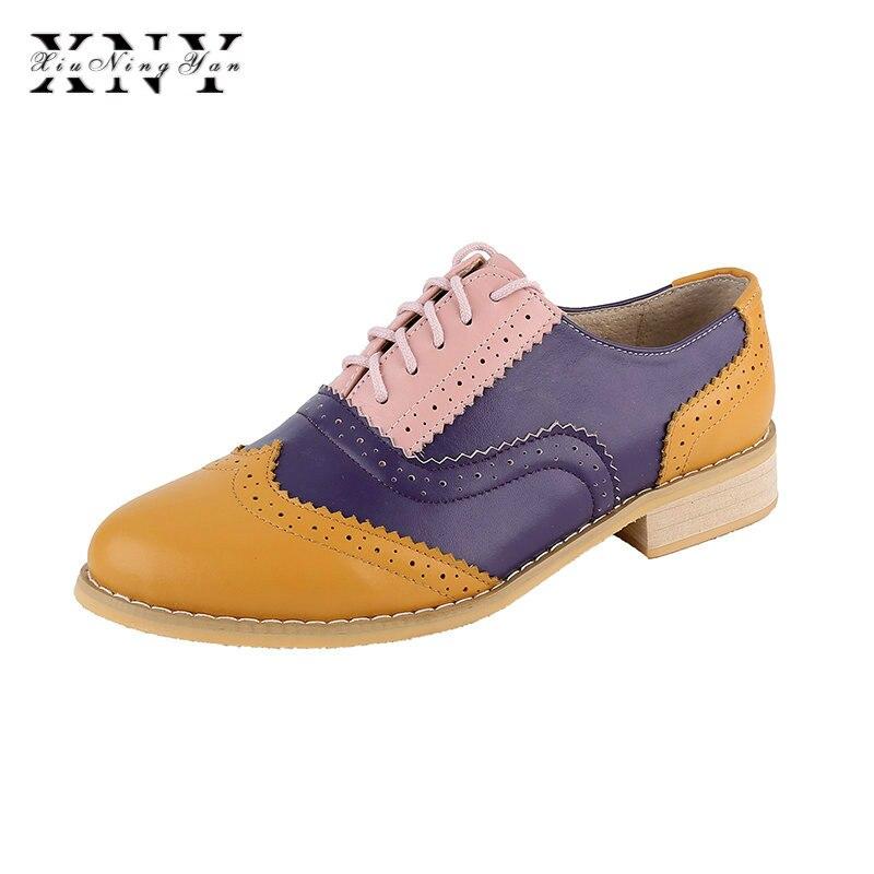 XIUNINGYAN Vintage Style Britannique Oxford Chaussures Pour femmes en cuir Véritable chaussures plates femmes NOUS size13 Noir fait à la main en cuir Chaussures