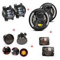 8700G2 7 Round Led Headlamp + 2pcs 4 fog led light + LED grill turning light + LED Fender flares lights for Jeep Wrangler 12