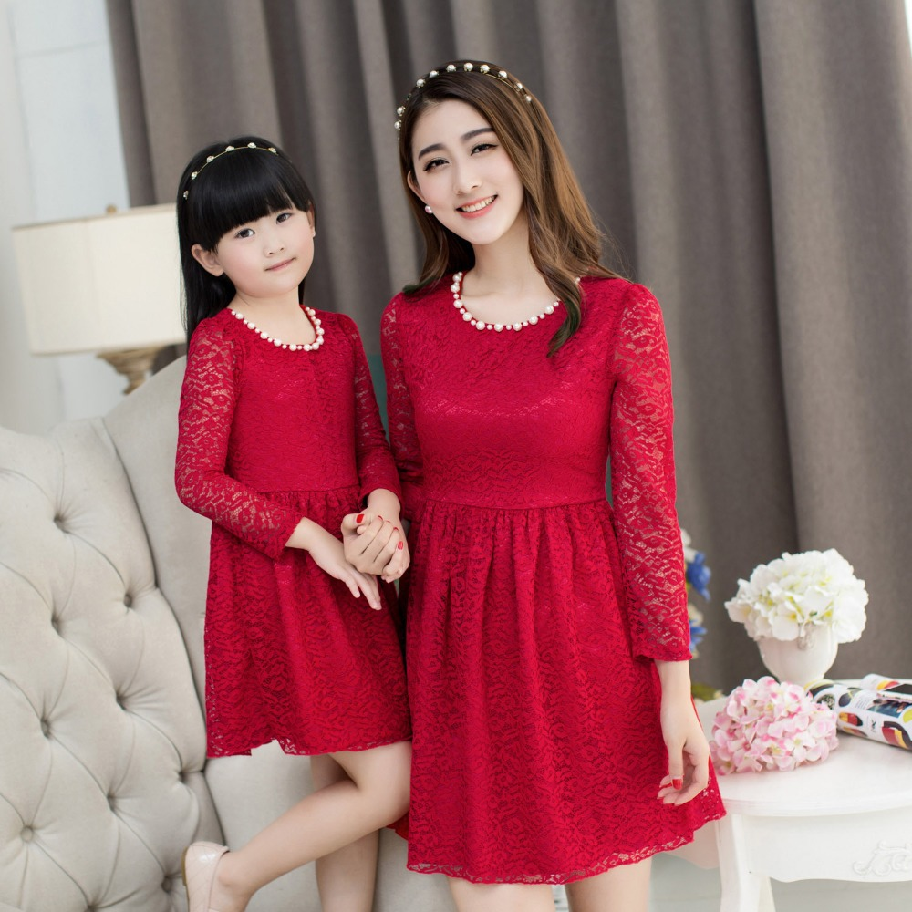 2015 christmas lace dress girls party dress mother daughter dresses family  matching outfits clothes mommy and 2b0115a12