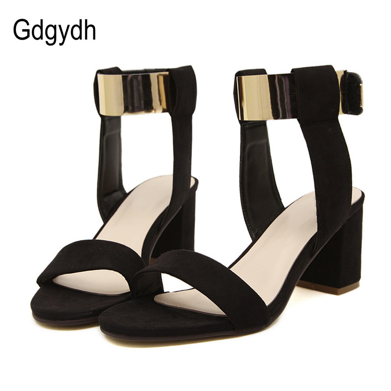 цены  Gdgydh New 2017 Summer Thick Heel Sandals Women Fashion Women's Shoes Metal Quality Nubuck Leather High Heels Sandals Size 35-40