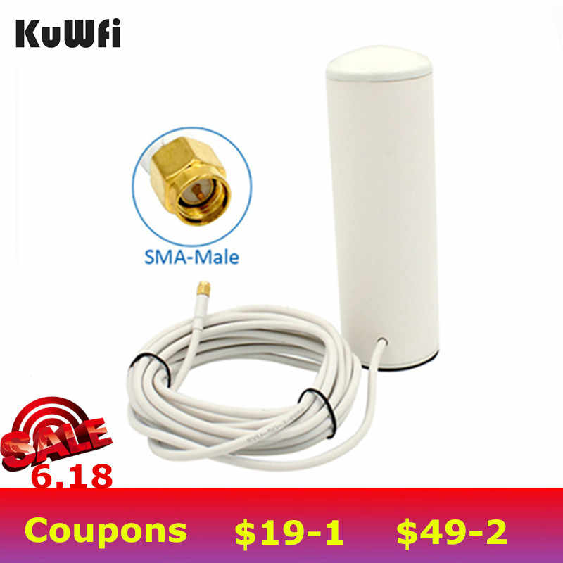 KuWfi 3G/4G LTE Antenna SMA 2.4Ghz 10-12dBi External Wifi Antenna with 5m or 10m cable for 4G Router&Modem Signal Booster