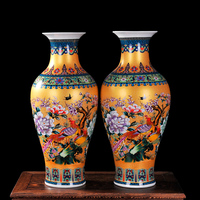 Luxury Antique Porcelain Enamel Fish Tail Shape Classical Decoration Large Vases Ancient Palace Home Decor