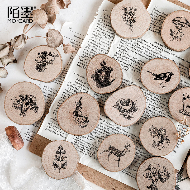 TUNACOCO Vintage Stamp Set Seal Sighnet Animal Wood Plant Wooden Stamp Bullet Journal DIY Crafts Qt1710134