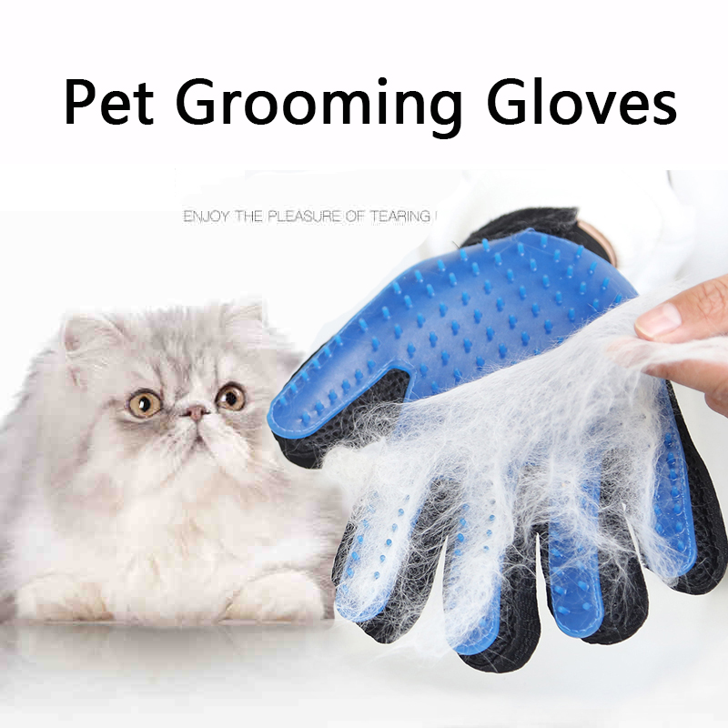 Pet Brush Glove Cat Hair Removal Grooming Five Fingers Pet Gloves Dog Bath Mitt Cleaning Tool Remove Dirt Massage Care Glove 1pc