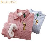 2017 New Fashion Female Giraffe Embroidery Shirts Women Fresh Cotton Office Blouse Collar Ladies Inside Shirts