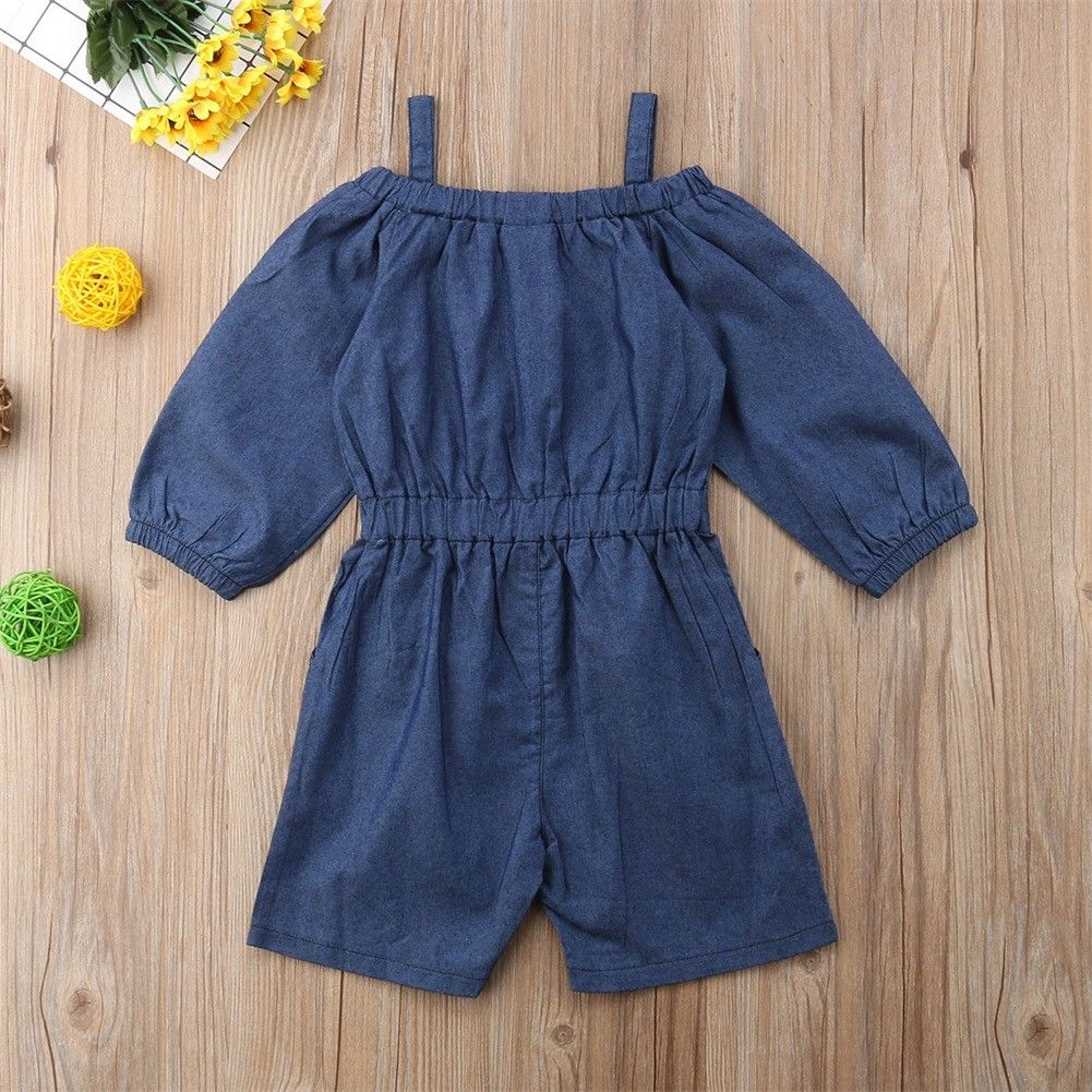 7a9a1b064c5 Infant Toddler Kids Baby Girls Ruffle Romper Off Shoulder Denim Long Sleeve Jumpsuit  Outfits Playsuit Summer Girl Clothing-in Rompers from Mother   Kids on ...