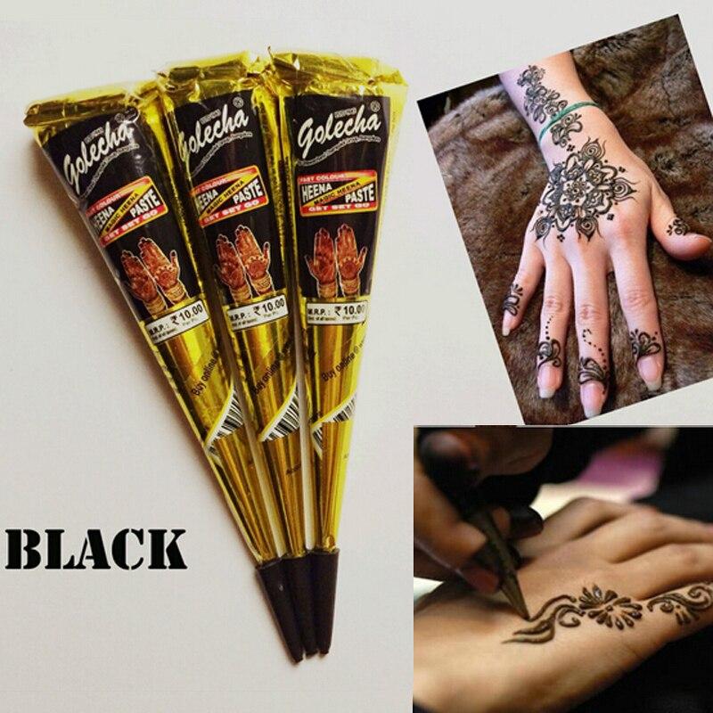 2pcs Golecha Black Indian Henna Tattoo Paste Cone Body Art,Menndi ...