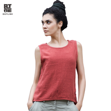 Outline Women Linen Tank Top O-Neck Solid Casual Summer Vest Vintage Sleeveless Lady Tops Ruched Short Loose Camis L142Y001
